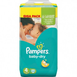 PAMPERS BABY DRY Couches Bébé Taille 4 - 8 a 16 kg - 120 Couches