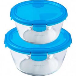 PYREX - Lot de 2 boîtes rondes 15cm + 20 cm - Bleu