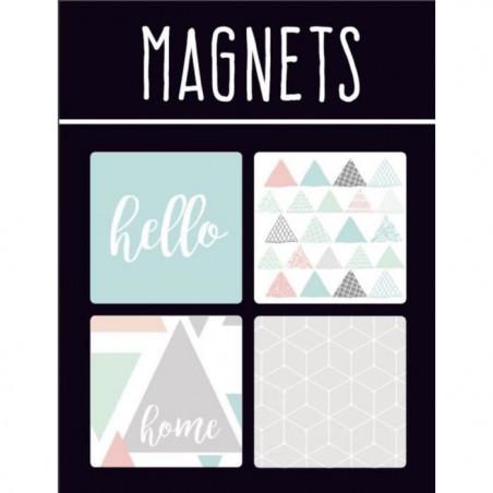 EMOTION Lot de 4 magnets style Scandinave - Couleur pastel