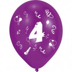 Lot de 8 Ballons - Latex - Chiffre 4 - Imprimé 2 faces