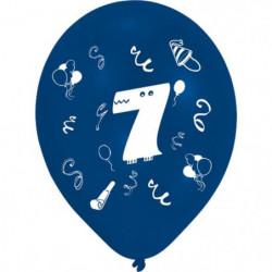 Lot de 8 Ballons - Latex - Chiffre 7 - Imprimé 2 faces
