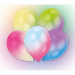 Lot de 5 Ballons avec LED - Latex - 27,5 cm - Couleurs chang