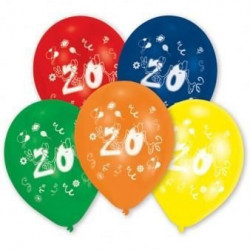 Lot de 10 Ballons - Latex - Chiffre 20
