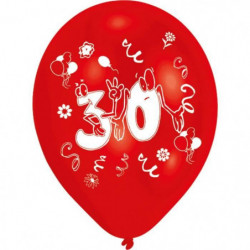 Lot de 8 Ballons - Latex - Nombre 30 - Imprimé 2 faces