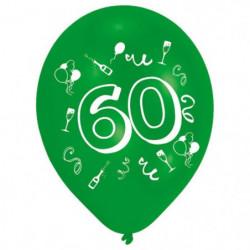 Lot de 8 Ballons - Latex - Nombre 60 - Imprimé 2 faces
