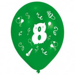 Lot de 8 Ballons - Latex - Chiffre 8 - Imprimé 2 faces
