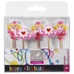 LE CHAT Lot de 5 bougies d'anniversaire sur pic princesses -
