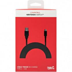 Câble de charge tressé pour Nintendo Switch - Noir