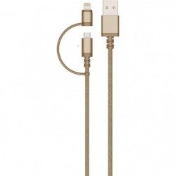 COLORBLOCK Câble USB / Micro USB / Lightning 2m - Gold