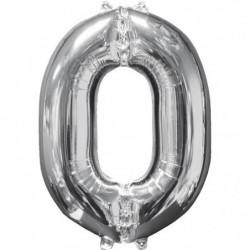 AMSCAN Ballon chiffre 0 - 51 x 66 cm - Argent