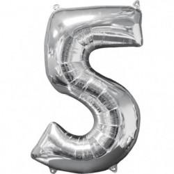 AMSCAN Ballon chiffre 5 - 51 x 66 cm - Argent