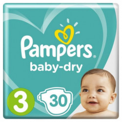 Pampers Baby-Dry Taille 3, 6-10 kg - 30 Couches