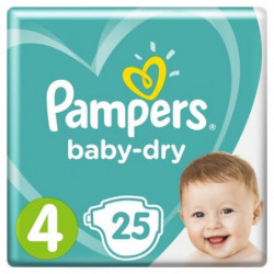 PAMPERS Baby Dry Taille 4 - 8 à 16kg - 25 couches