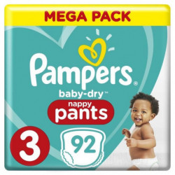 Pampers Baby-Dry Pants Taille 3, 6 a 11 kg, 92 Couches-Culot