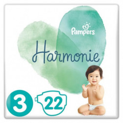PAMPERS Harmonie Taille3, 6 -10 kg, 22Couches