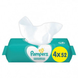 PAMPERS Lingettes bébé SENSITIVE - Lot de 4 x 52 lingettes