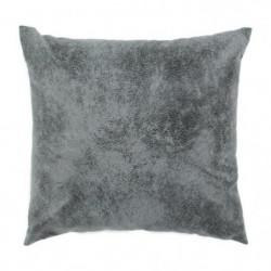 Coussin Havane aspect cuir vieilli - 40 x 40 cm - Gris