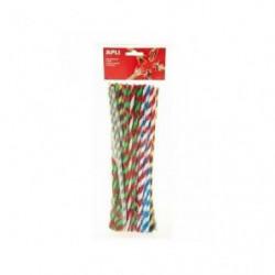 APLI Sachet 50 chenilles bicolores - Couleurs assorties - 30
