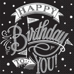AMSCAN Lot de 36 Serviettes Hooray It's Your Birthday 25 x 2