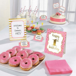 AMSCAN Kit de décoration Buffet 1st Birthday 12 pieces Rose