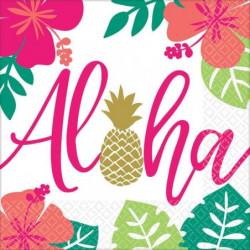 AMSCAN Lot de 16 Serviettes Aloha 33 x 33 cm