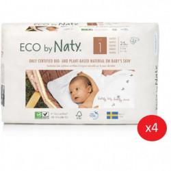 NATY - Lot de 4 paquets de couches Taille 1 Nouveau né 2-5 k