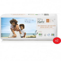 NATY - Lot de 2 paquets de couches Taille 5 12-18 kg 40 pcs