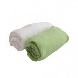 DOUX NID Lot de 2 draps housse Blanc/anis 60x120 cm