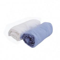 DOUX NID Lot de 2 draps housse Blanc/ciel 60x120 cm