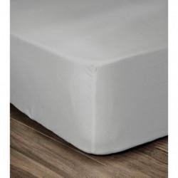 LOVELY HOME Drap Housse 100% coton 140x190x30 cm gris clair