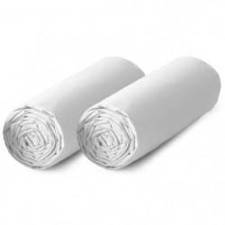 TODAY Lot de 2 draps housse 100% coton - 90x190 cm - Blanc
