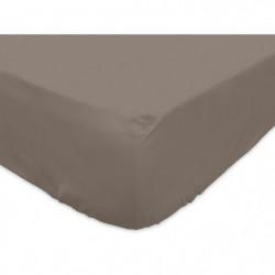 SOLEIL d'OCRE Drap housse 100% Coton 140x200 cm Taupe