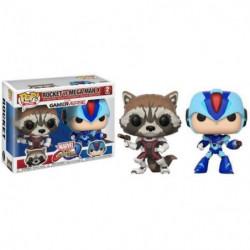 2 Figurines Funko Pop! Marvel VS Capcom : Rocket VS Mega Man
