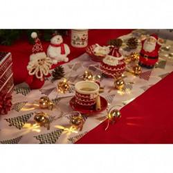 Guirlande de Noël 10 LED en métal avec grelots blanc chaud -