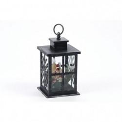 Lanterne déco noire avec 3 bougies LED en PVC - H 28 cm - Bl