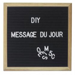 Tableau mural carré Mémo lettres 30,5x30,5cm - Noir
