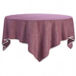 DEKOANDCO Nappe Chinny 100% coton  150x150 cm  - Rouge