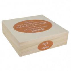 Boite a chocolat - Bois - 24 x 24 cm - Beige et marron