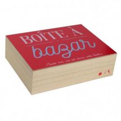 Boite a bazar - Bois - 18 x 24 cm - Beige et rouge
