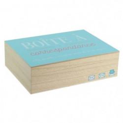Boite a correspondance - Bois - 18 x 24 cm - Beige et bleu