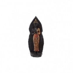 Figurine de décoration Bouddha debout - Effet boisé - Rouge