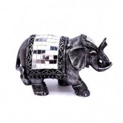 Eléphant avec mosaique - 11 x 20 cm - Argent