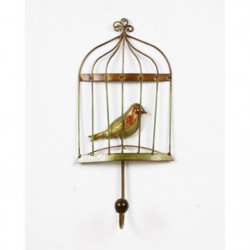 Patere Cage A Oiseaux - Métal - L 14,60 x P 6,98 x H 32,38 c