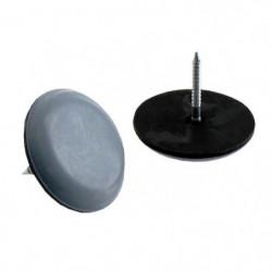 Lot de 4 Patins glisseur a pointe - Ø 30 mm - Gris