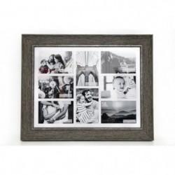Pele-mele effet bois 8 photos - 10 x 15 cm - Naturel et blan