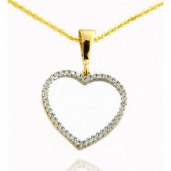 Pendentif Coeur Or Jaune 375/1000 & Zirconium