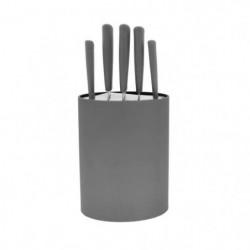 FRANDIS Bloc 5 couteaux - 17 x 7 x 35,7 cm - Gris
