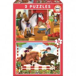 EDUCA - Puzzle Chevaux 2x48 pcs