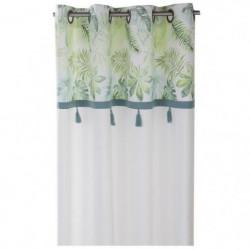 DEKOANDCO Rideau végétal blanc - 135x250 cm - Avec petits po