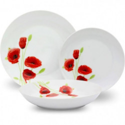 Service de Table 18 pieces en porcelaine Coquelicot rouge et